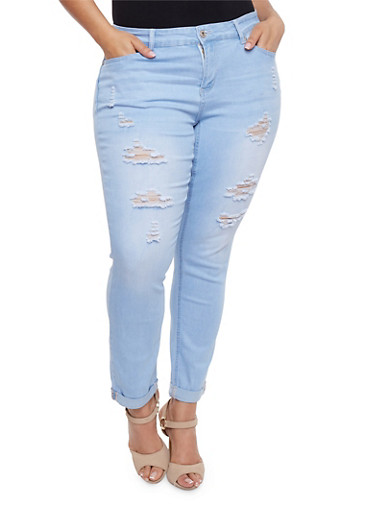 Plus Size WAX Distressed Push Up Jeans,LIGHT WASH,large