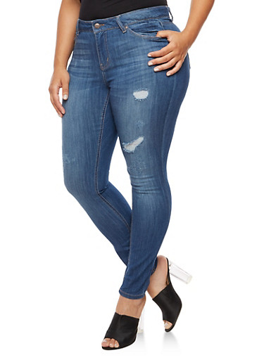 Plus Size WAX Distressed Whisker Wash Jeans,MEDIUM WASH,large