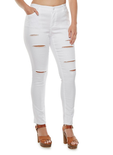 Plus Size WAX Skinny Distressed Jeans,WHITE,large