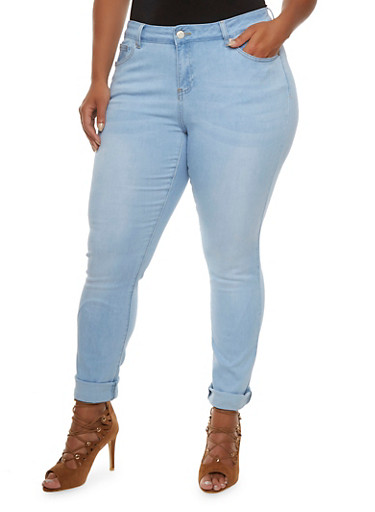 Plus Size WAX Skinny Jeans,LIGHT WASH,large