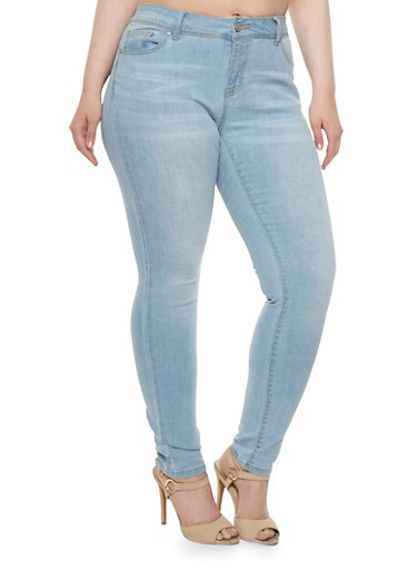 Plus Size WAX High Waisted Skinny Jeans,LIGHT WASH,large