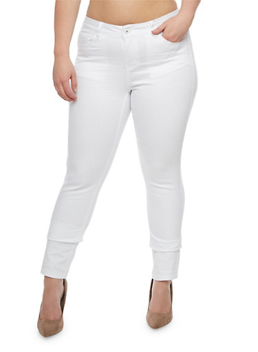 Plus Size WAX Push Up Skinny Jeans,WHITE,large