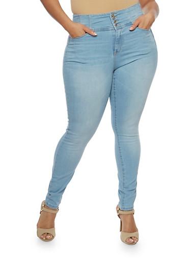 Plus Size WAX Whisker Wash Push Up Jeans,LIGHT WASH,large