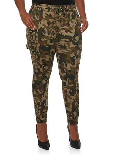 Plus Size Camo Joggers with Cargo Pockets,CAMOUFLAGE,large