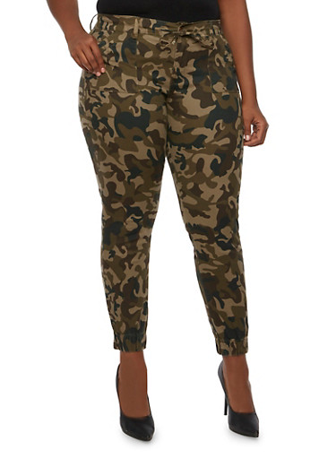 Plus Size Camo Twill Pants with Tie Waist,CAMOUFLAGE,large