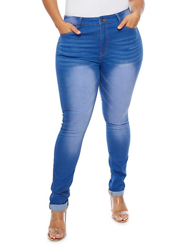 Plus Size Faded Whisker Wash Jeans,BLUE,large