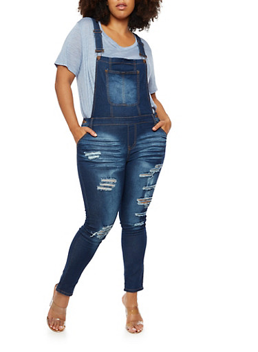 Plus Size Destroyed Overalls,DARK WASH,large