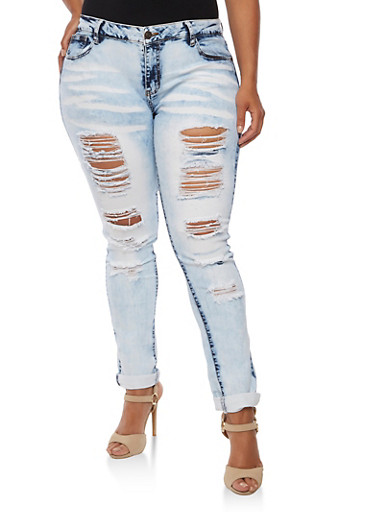 Plus Size Faded Destroyed Jeans,MARBLE,large