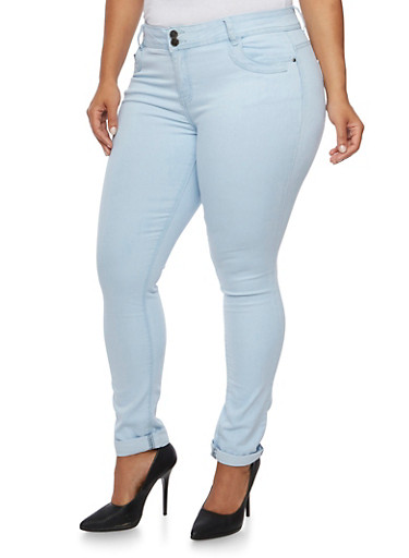 Plus Size Stretch Jeans,ICE WASH,large