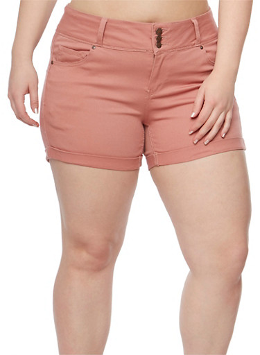 Plus Size Wax Jean Three Button Push Up Shorts,MAUVE,large
