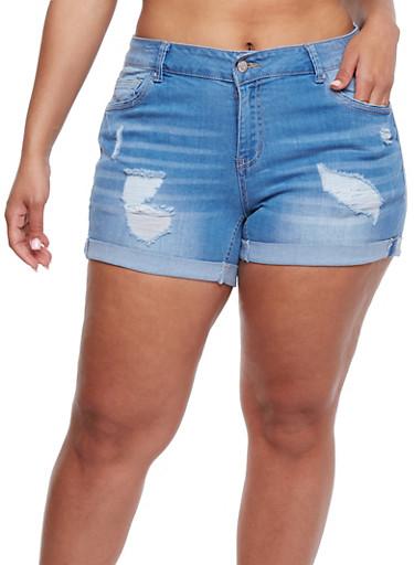 Plus Size WAX Distressed Denim Shorts