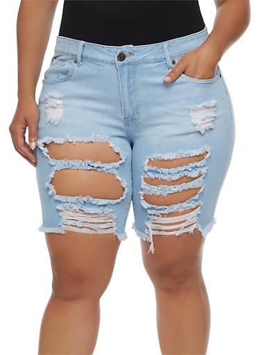 Plus Size VIP Ripped Denim Bermuda Shorts,LIGHT WASH,large