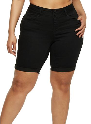 Plus Size Wax Denim Bermuda Shorts,BLACK,large