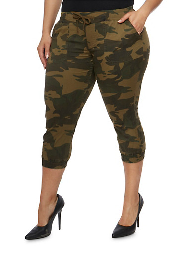 Plus Size Camouflage Capri Joggers,OLIVE,large