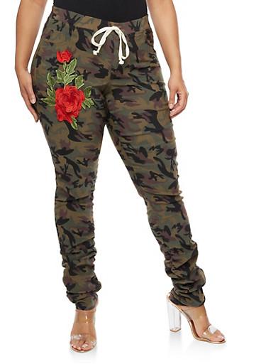 Plus Size Floral Applique Ruched Camo Pants,OLIVE,large