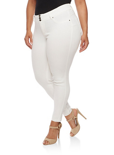 Plus Size Three Button Stretch Twill Pants,WHITE,large