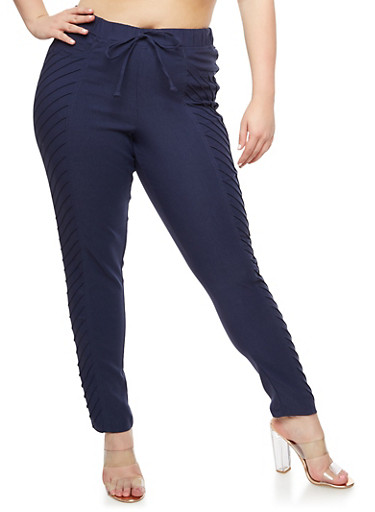 Plus Size Pintuck Jeggings,NAVY,large