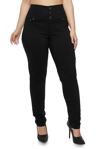 Plus Size High Waisted Three Button Stretch Pants,BLACK,large