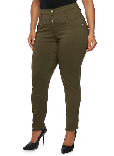 Plus Size High Waisted Stretch Pants,OLIVE,large