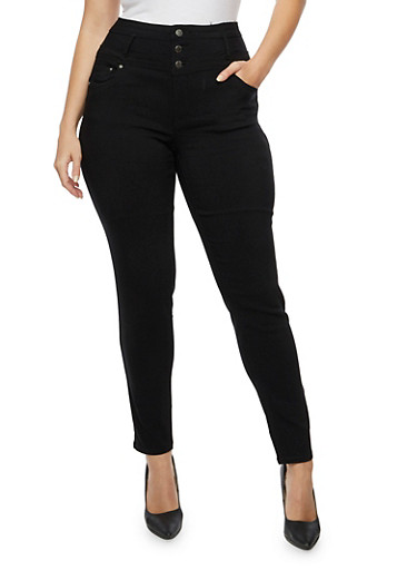 Plus Size High Waisted Stretch Jeans,BLACK,large