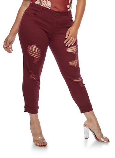 Plus Size Ripped Jeans,PLUM,large