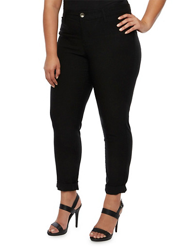 Plus Size Stretch Jeans with Tonal Stitching,BLACK,large
