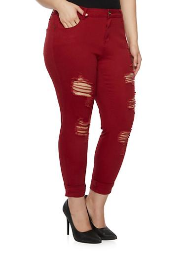 Plus Size Distressed Skinny Pants,BURGUNDY,large
