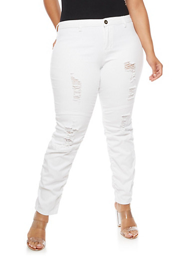 Plus Size Frayed Ruched Jeans,WHITE,large