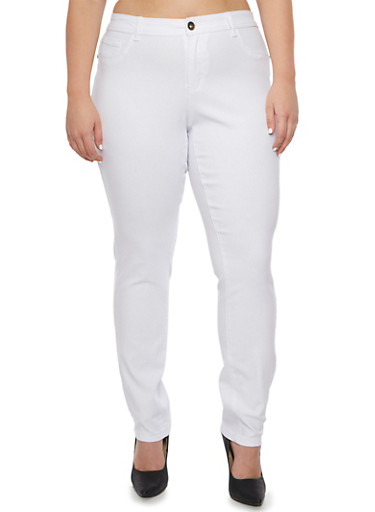 Plus Size Solid Pants,WHITE,large