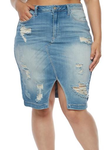 Plus Size Distressed Denim Skirt - Rainbow