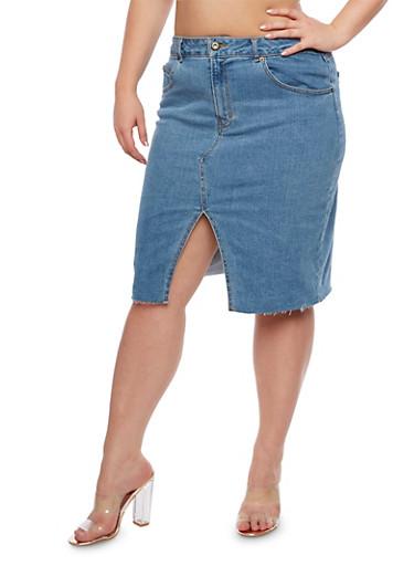 Plus Size Denim Pencil Skirt,MEDIUM WASH,large