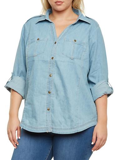 Plus Size Chambray Button Front Shirt,MEDIUM WASH,large