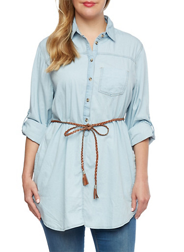 Plus Size Denim Tunic Top with Belt,LIGHT WASH,large