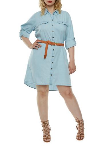 Plus Size Denim Shirt Dress with Braided Belt,LIGHT WASH,large