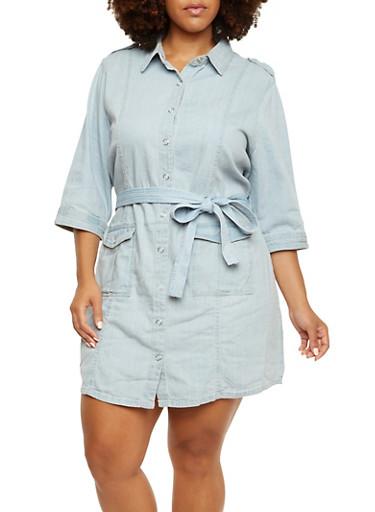 Plus Size Belted Denim Shirt Dress with Cargo Pockekts,LIGHT WASH,large
