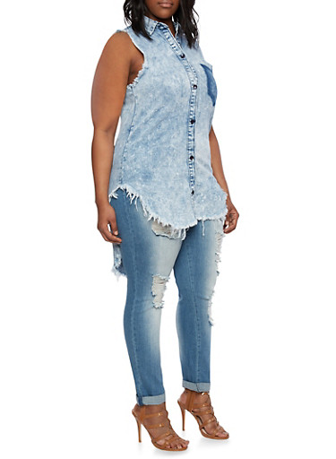 Plus Size Denim Tunic Top with High-Low Hem,RINSE,large