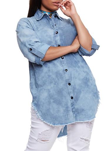 Plus Size Button Front Denim Tunic Shirt,MEDIUM WASH,large