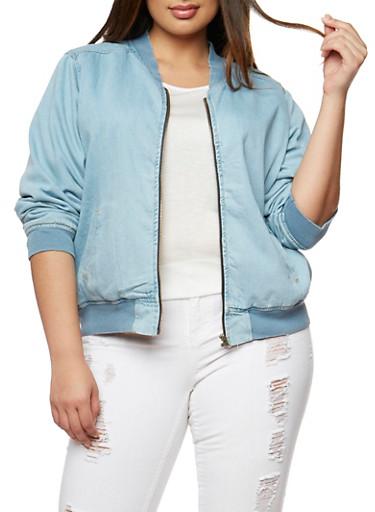 Plus Size Highway Jeans Denim Bomber Jacket,LIGHT WASH,large