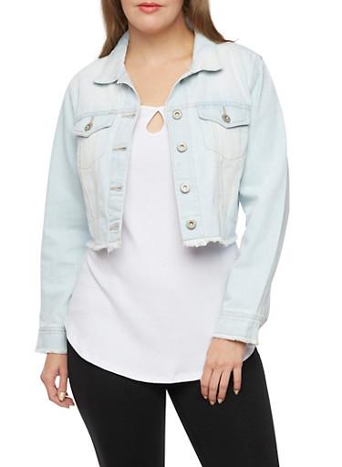Plus Size Highway Denim Jeans Cropped  Jacket,LIGHT WASH,large