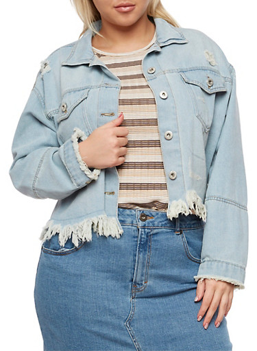 Plus Size Highway Jeans Frayed Denim Jacket,LIGHT WASH,large