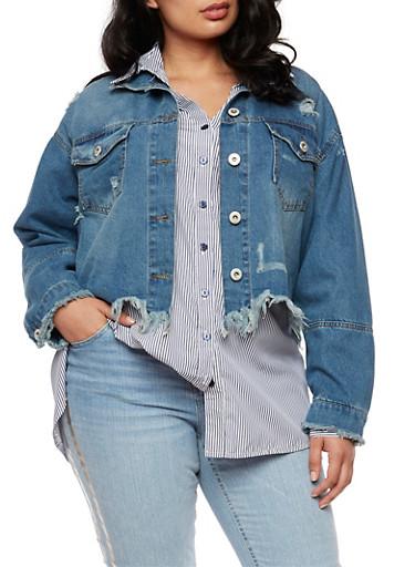 Plus Size Highway Jeans Frayed Denim Jacket,MEDIUM WASH,large