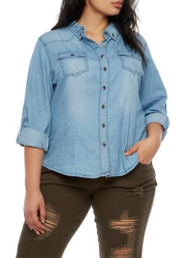 Plus Size Highway Jeans Long Sleeve Denim Shirt,MEDIUM WASH,large