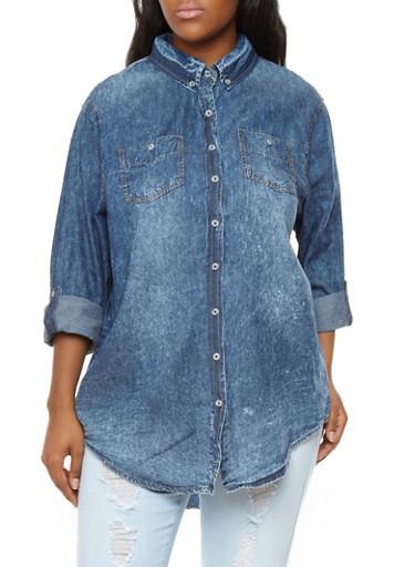 Plus Size Longline Denim Button-Down Shirt,ACID,large