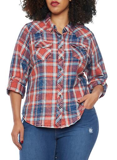 Plus Size Highway Jeans Plaid Denim Shirt,RED,large
