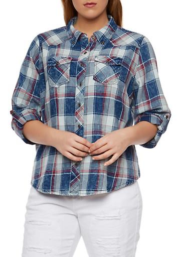Plus Size Highway Jeans Plaid Denim Shirt,DENIM BLUE,large