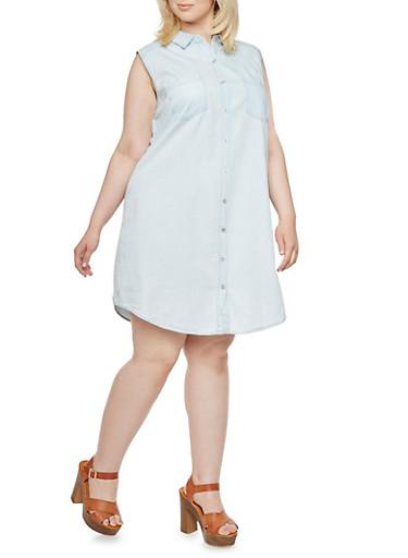 Plus Size WAX Jeans Sleeveless Shirt Dress in Denim,LIGHT WASH,large