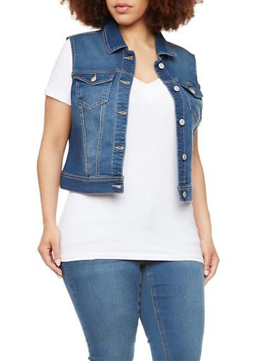 Plus Size WAX Jeans Denim Vest,DARK WASH,large