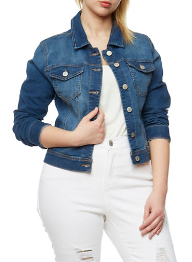 Plus Size WAX Button Front Denim Jacket,MEDIUM WASH,large