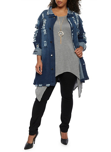 Plus Size Oversized Destroyed Denim Jacket,DARK WASH,large