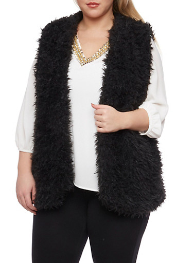 Plus Size Vest in Faux Fur,BLACK,large